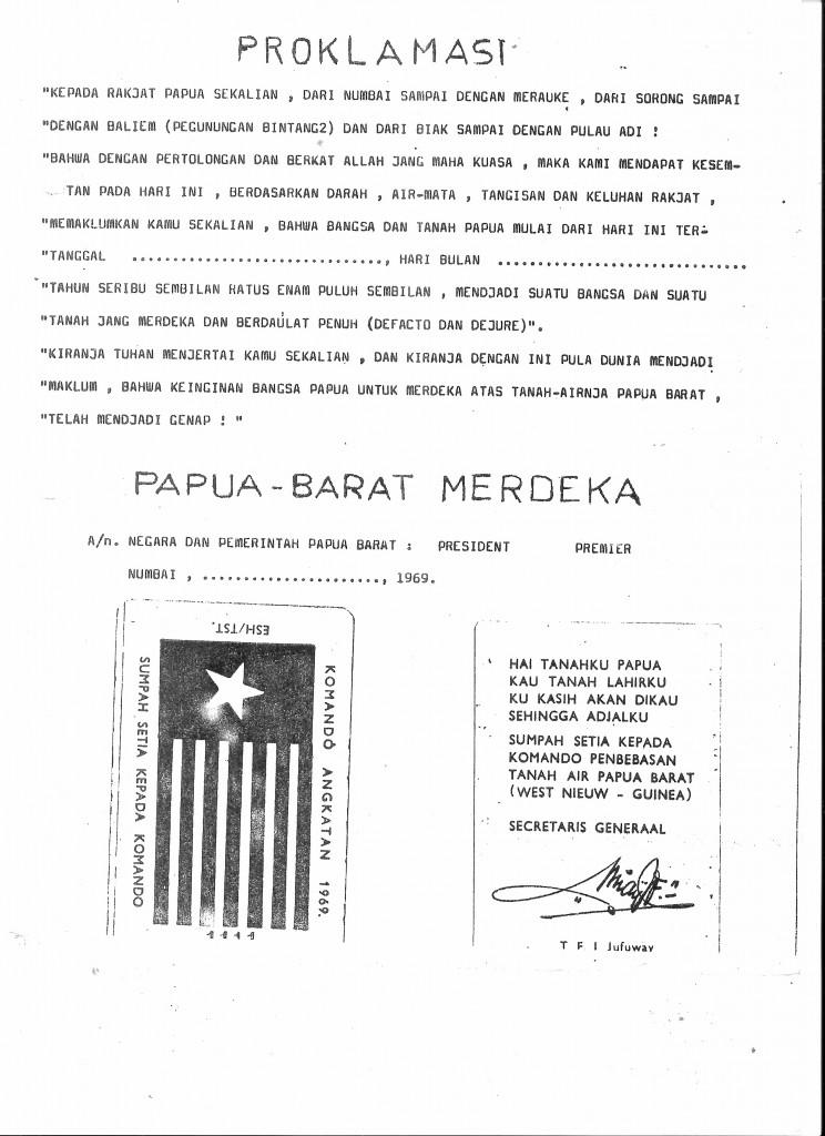 Proclamation west papua 1 july 1971