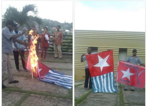 Barisan Merah Putih Burn Flag of West Papua in Jayapura